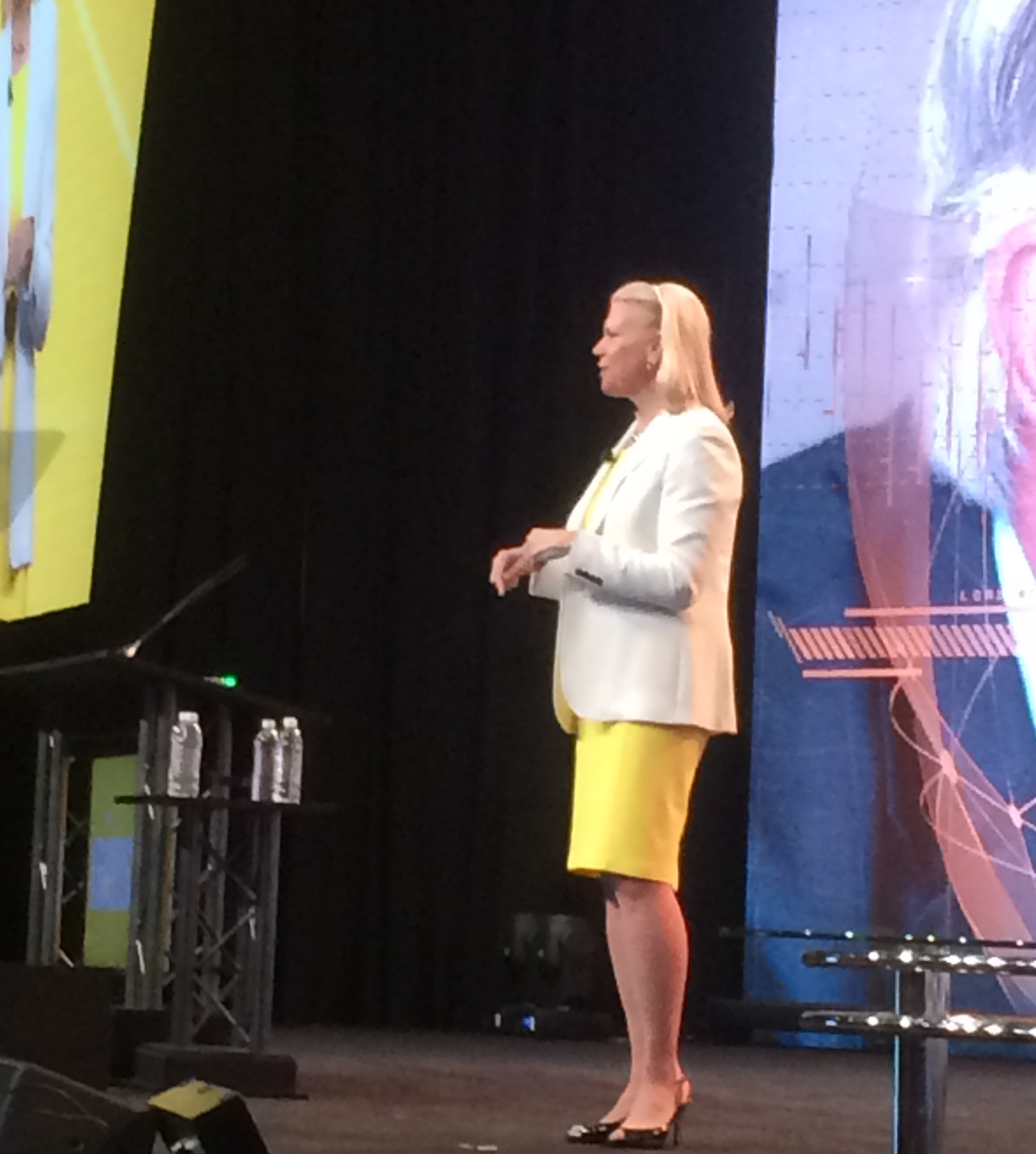 IBM CEO Ginni Rometty speaking at HIMSS 2017 in Orlando, Fla. Photo: Daniel Bowman