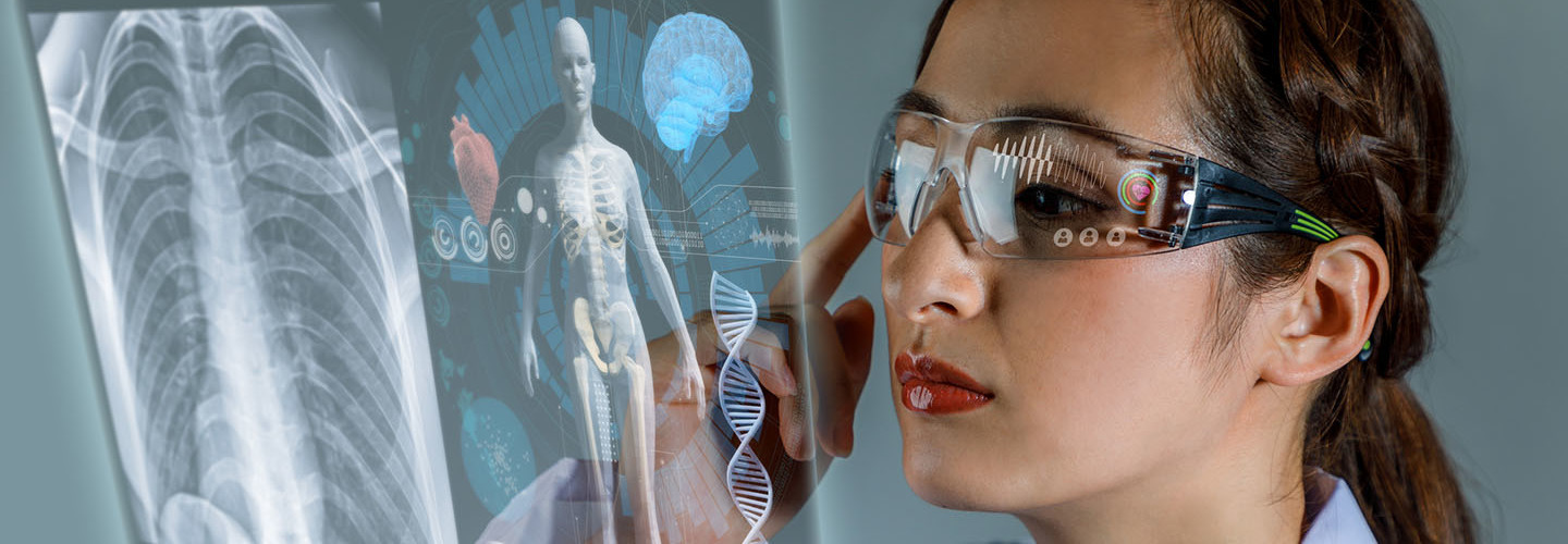 Young female doctor looking at hologram screen