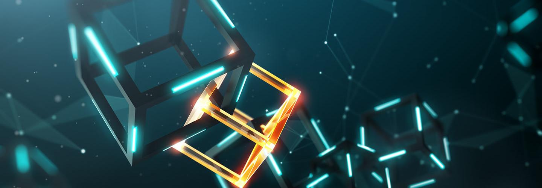 Blockchain concept; little connected virtual cubes