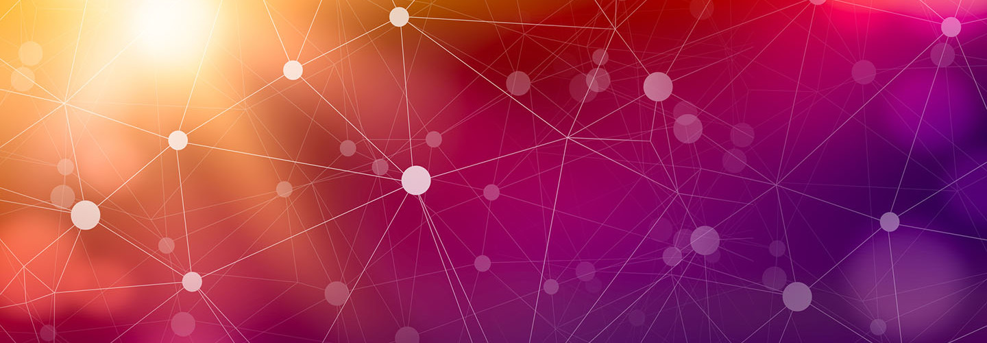 Abstract Cyber Technology Background, white dots connected with gray lines on a purple background
