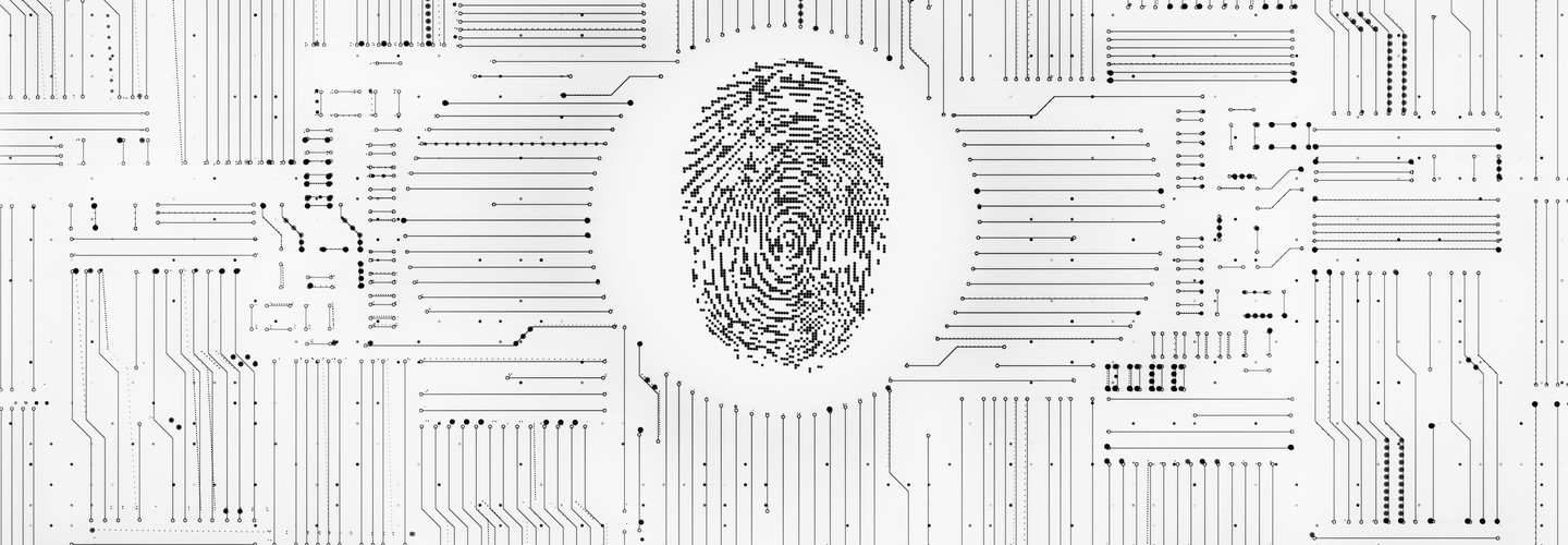 Digital fingerprint ID system with monochrome circuitry background.