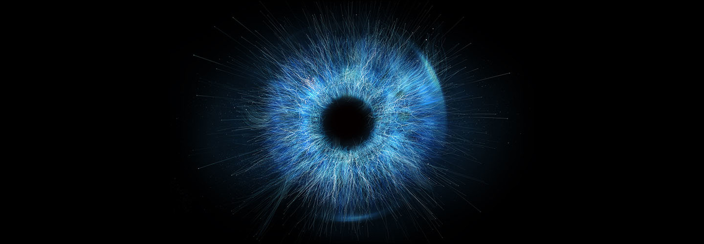 abstract blue eye on black background