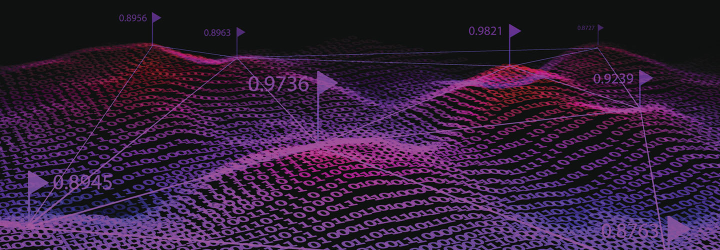 Big data representation in purple. Binary code background