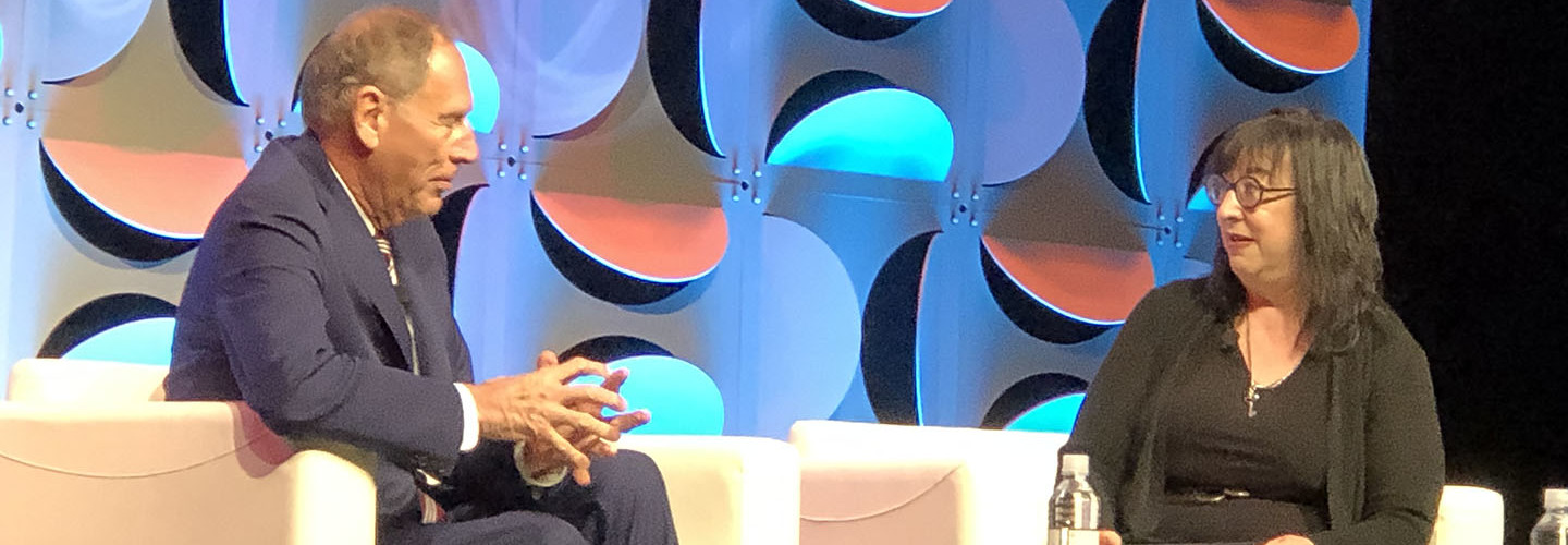 Former Cleveland Clinic CEO Toby Cosgrove (left), who now serves as an adviser to Google, told Jane Sarasohn-Kahn at ATA19 that he believes telehealth is poised to take off.