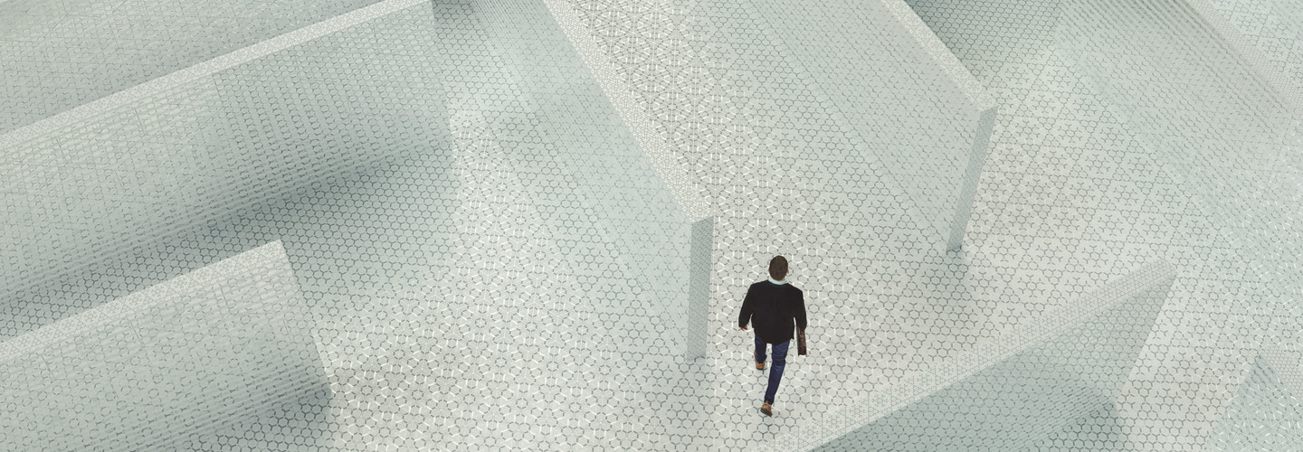 Business man lost in maze
