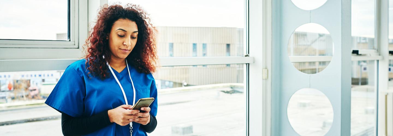 Nurse with smartphone