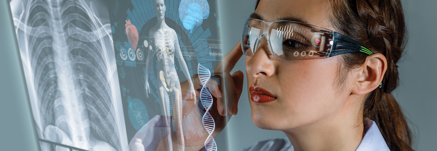 Healthcare worker using smart glasses