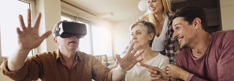 grandpa using virtual reality