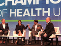 CMS Administrator Seema Verma, Michael Leavitt, Dr. Karen DeSalvo and Aneesh Chopra discuss health data exchange and information blocking at Tuesday's keynote panel with HIMSS President and CEO Hal Wolf III.