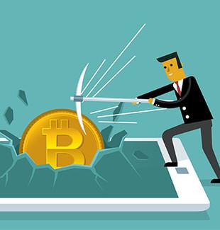 Man smashing bitcoin through computer