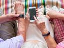 Seniors using gadgets