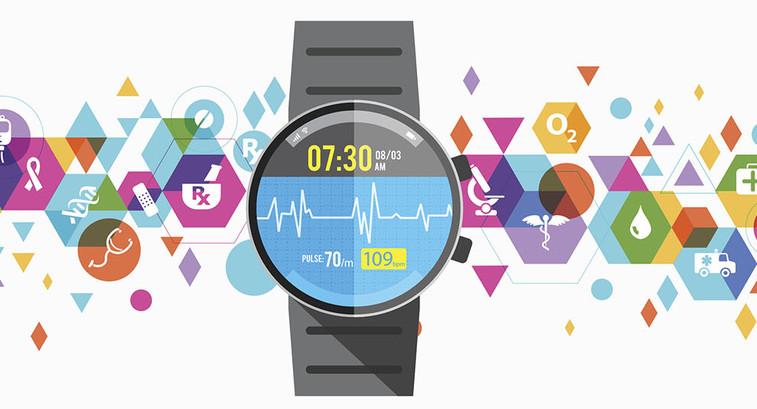 Healthcare wearable design, watch with colorful elements