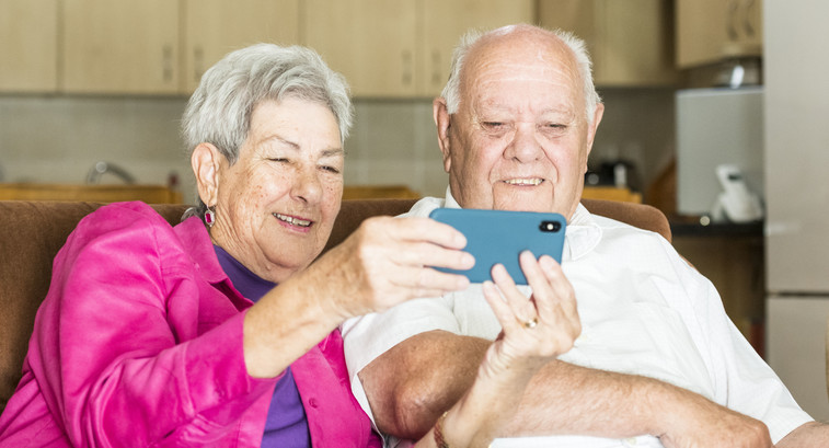 Seniors using smartphone