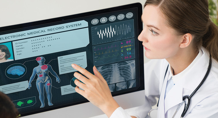 Doctor using EHR with patient