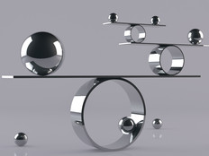 Reflective balls balancing on metal shelves. Balancing concept