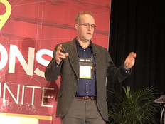 David Houlding speaks about blockchain at the HIMSS 2019 conference in Orlando, Fla.